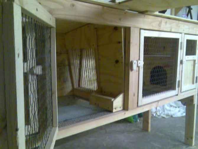 Крепим дверцы к кроличьей клетке.