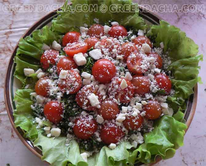 Салат из шампиньонов и черри