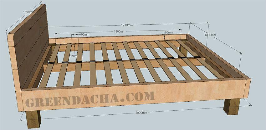 Деревянная кровать своими руками : чертежи, фото