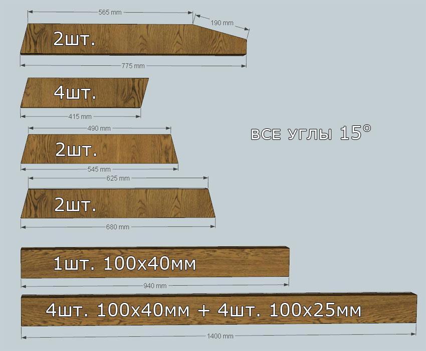 Чертеж: детали скамейки с размерами.