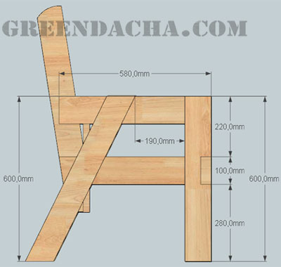 Скамейка из бруса чертежи